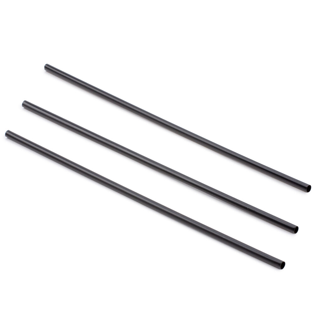 Choice 7 7/8 inch Collins Straw - Black - 500 / Box