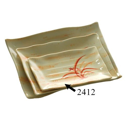 "Gold Orchid 11 1/4"" x 7 1/4"" Rectangular Melamine Wave Plate - 12/Pack"