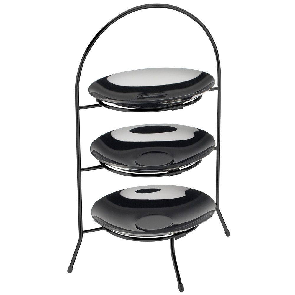 "Cal-Mil 977-8-13 Iron Three Tier Black Wire Bowl and Plate Display - 8 3/4"" x 8 3/4"" x 18"""