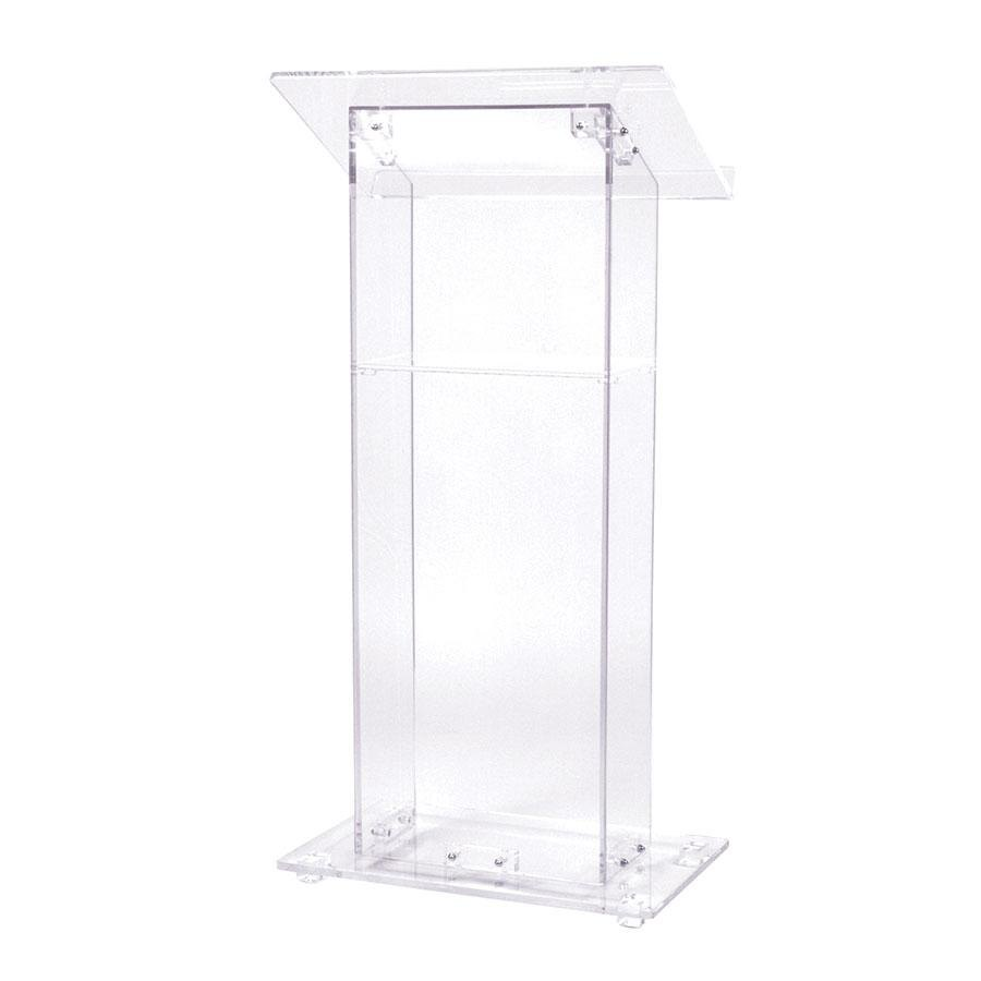 Oklahoma Sound 401S Clear Acrylic Square Lectern with Shelf