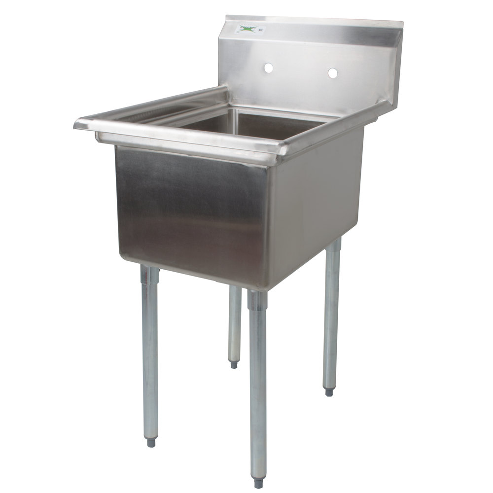 "Regency 22"" 16-Gauge Stainless Steel One Compartment Commercial Sink without Drainboard - 17"" x 23"" x 12"" Bowl"