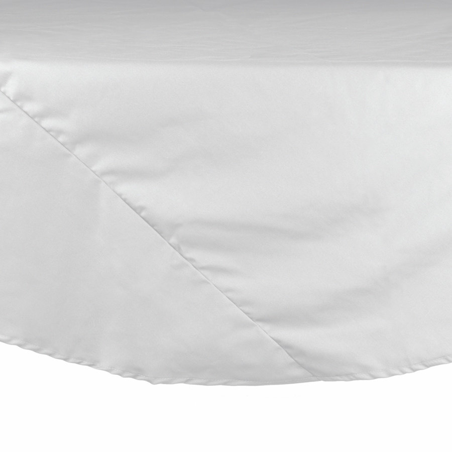 "132"" White Round Hemmed Polyspun Cloth Table Cover"