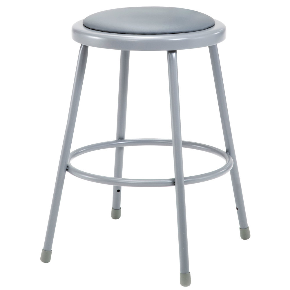 National Public Seating 6424 24 Quot Gray Round Padded Lab Stool