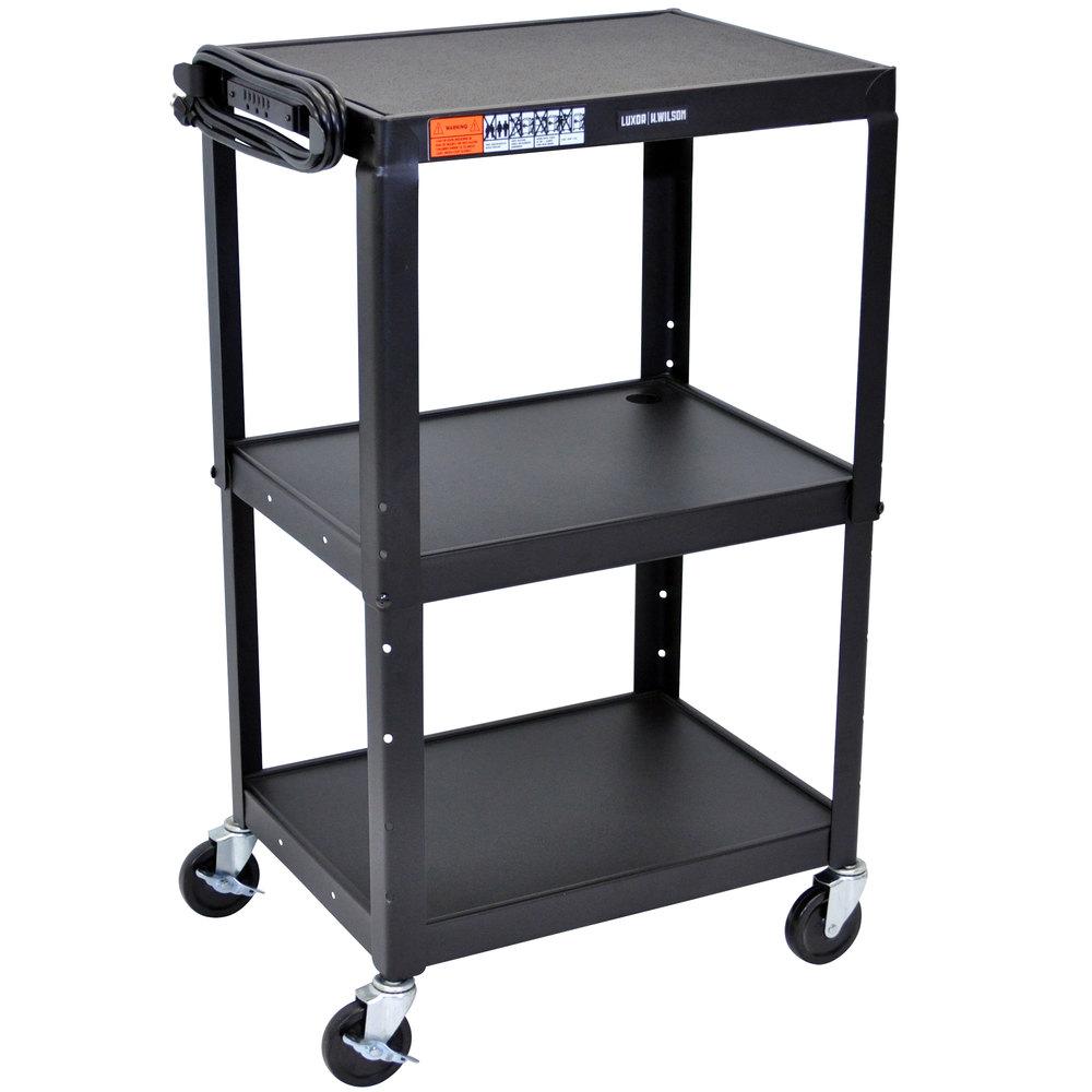 Luxor Avj42 Black 3 Shelf A V Utility Cart 24 Quot X 18