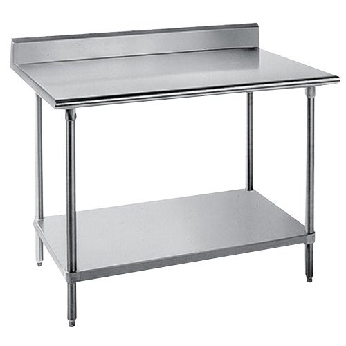 "Advance Tabco KSS-247 24"" x 84"" 14 Gauge Work Table with Stainless Steel Undershelf and 5"" Backsplash"