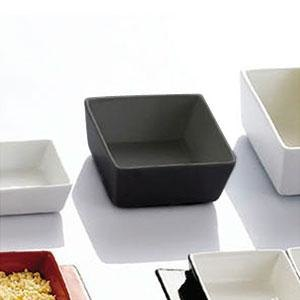 "CAC F-BW4-B Fortune 3 1/2"" Square China Tasting Bowl - Black - 48/Case"