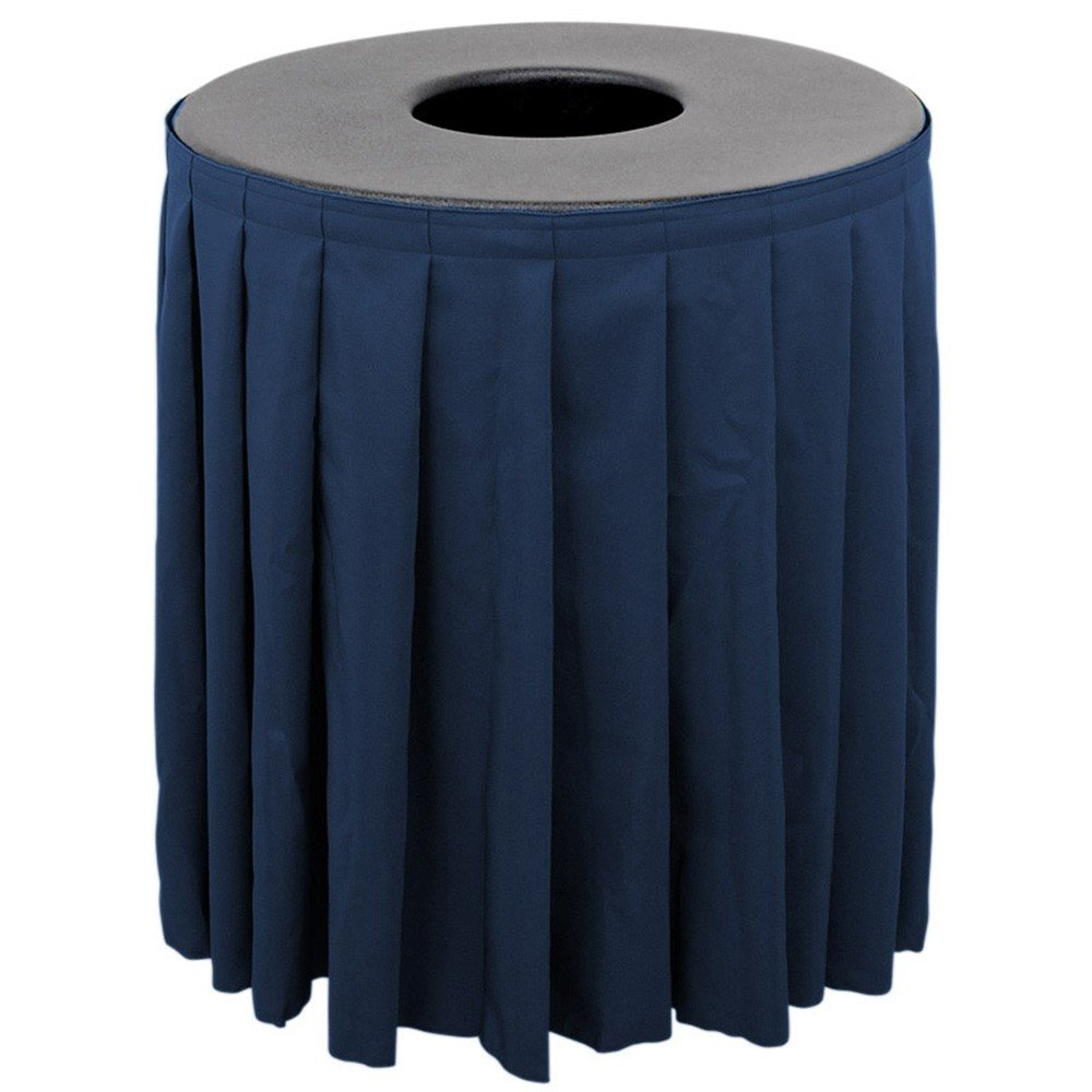 Buffet Enhancements 1BCTV44SET Black Round Topper with Navy Skirting for 44 Gallon Trash Cans