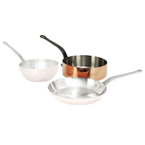De Buyer 6462.20 1.9 Qt. Straight-Sided Copper Saute Pan with Cast Iron Handle