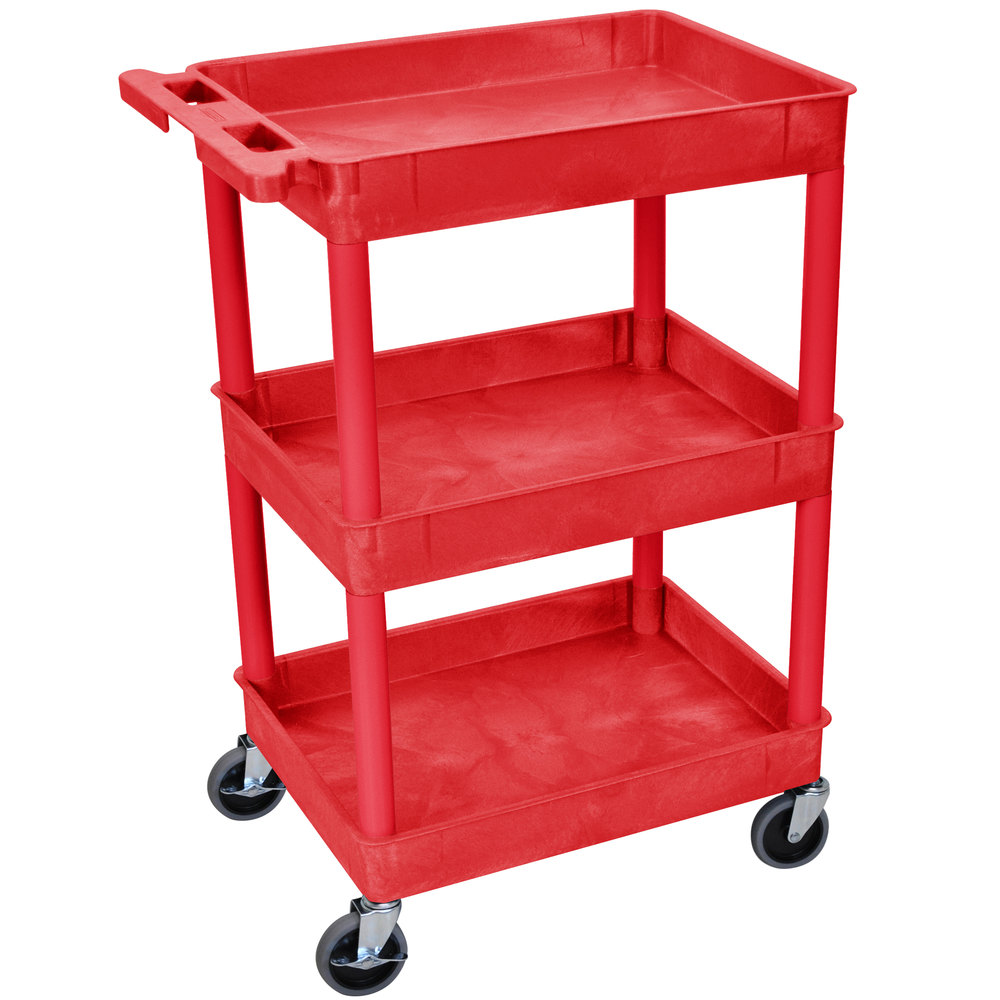 "Luxor / H. Wilson RDSTC111RD Red 3 Tub Utility Cart - 18"" x 24"" x 38 1/2"""