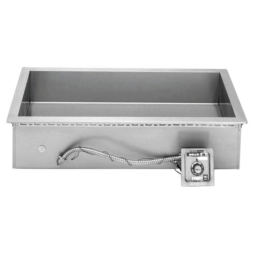 Wells HT327 Bain Marie Style (3) 4/3 Size Pan Drop-In Hot Food Well with Drain - Top Mount, Thermostat Control