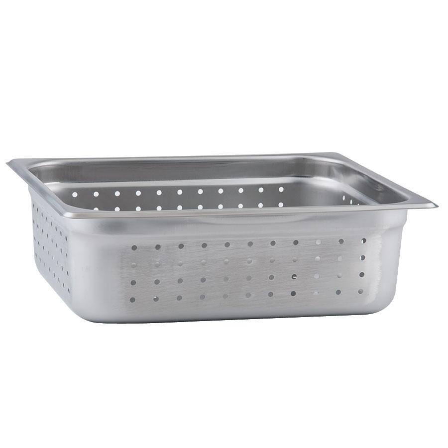 "Half Size Perforated Steam Table / Hotel Pan - 4"" Deep Anti-Jam"