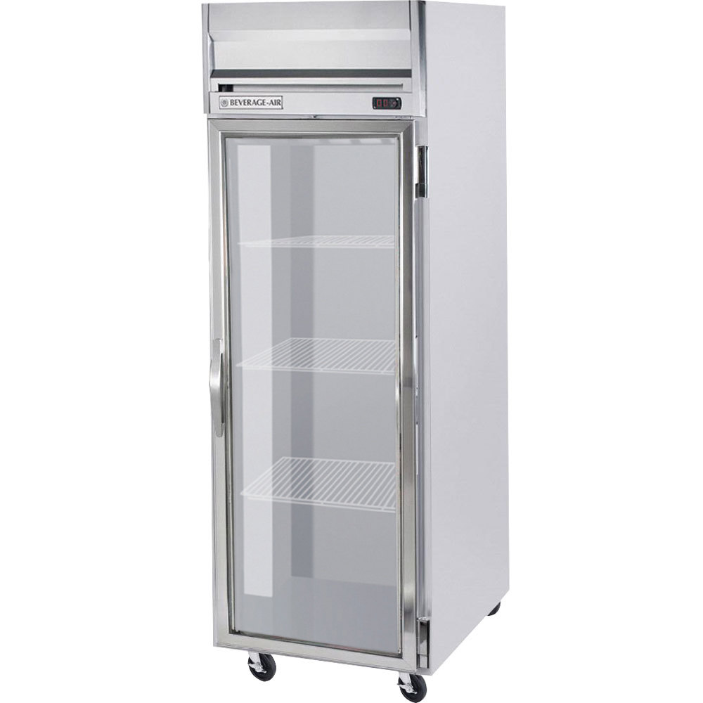 Beverage Air HRPS1-1G-LED 1 Section Glass Door Reach-In Refrigerator - 24 cu. ft., SS Exterior and Interior