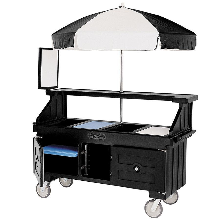 Cambro Camcruiser CVC72110 Black Vending Cart with Umbrella and 3 Counter Wells