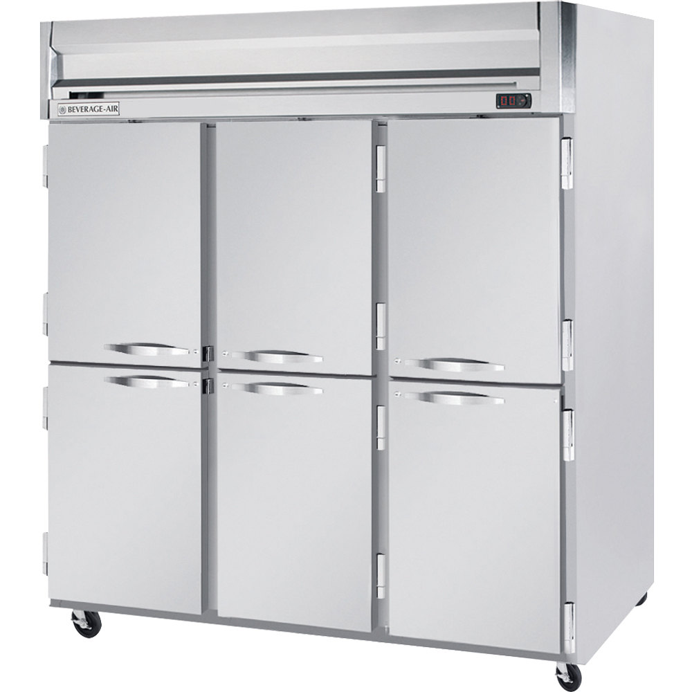 Beverage Air HFPS3-5HS 3 Section Solid Half Door Reach-In Freezer - 74 cu. ft., Stainless Steel Exterior / Interior - Specification Series
