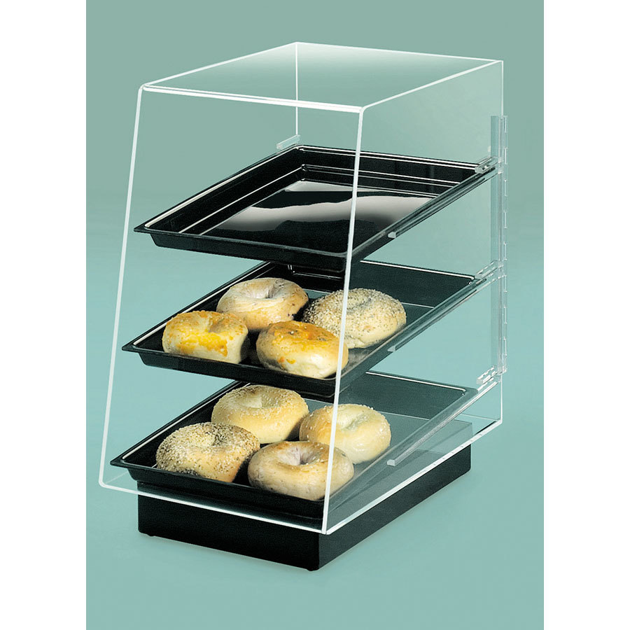 Cal Mil 816 Slant Front 3 Tray Bakery Display with Black Pedestal Base 11 1/2 inch x 17 inch x 17 inch