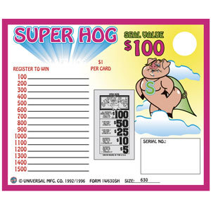 """""""Super Hog"""" 1 Window Pull Tab Tickets - 630 Tickets Per Deal - Total Payout: $500 at Sears.com"""