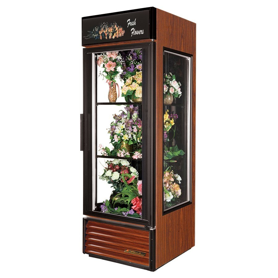True GEM-23 Cherry Glass End Floral Case - 23 Cu. Ft.