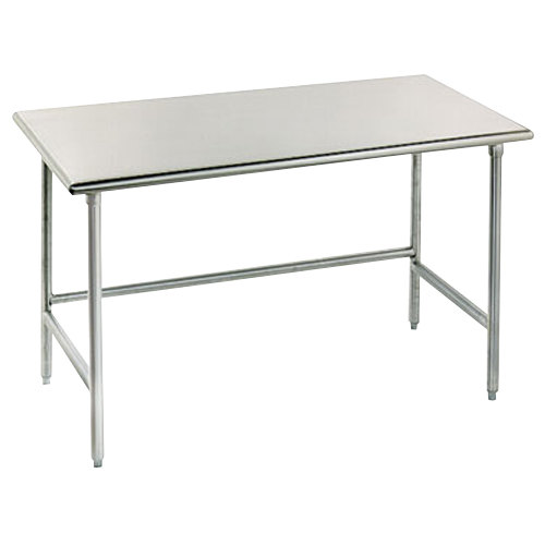 "Advance Tabco TSAG-240 24"" x 30"" 16 Gauge Open Base Stainless Steel Work Table"