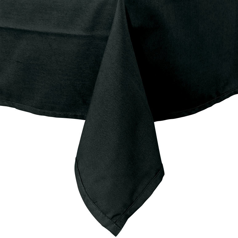 "54"" x 114"" Black 100% Polyester Hemmed Cloth Table Cover"