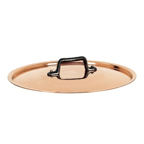 "De Buyer 6463.14 5 1/2"" Copper Pot / Pan Cover with Cast Iron Handle"