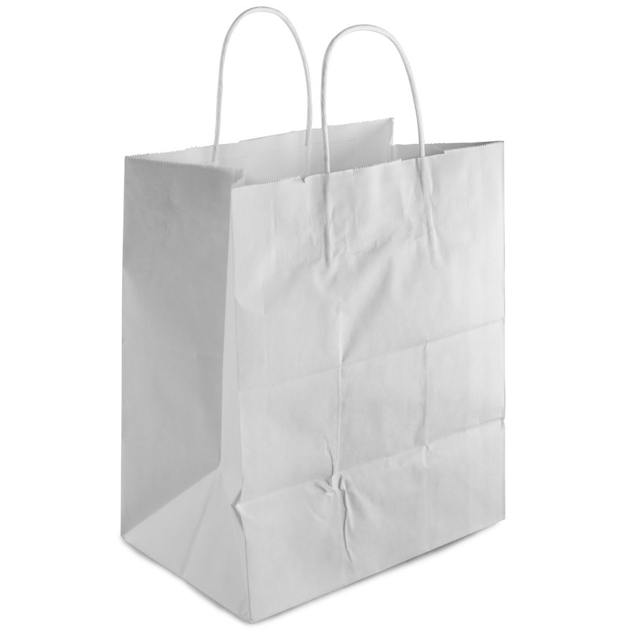 """Bistro White Paper Shopping Bag with Handles 10"""" x 6 3/4 ..."""