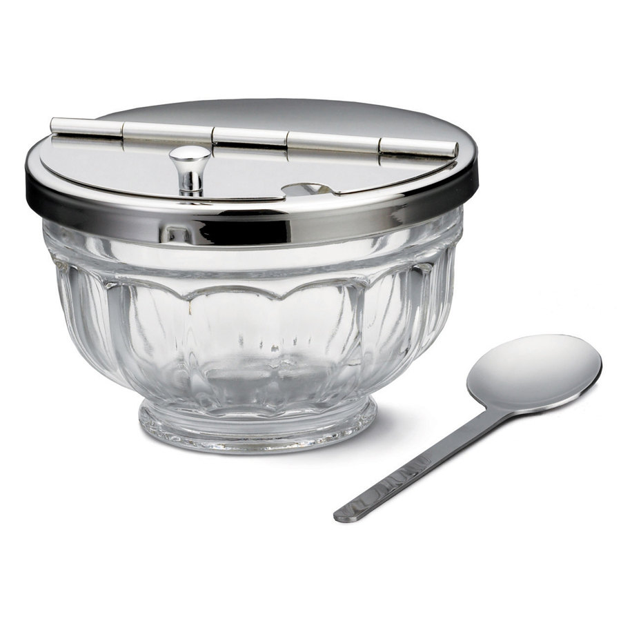 Tablecraft 71004 12 oz. Glass Condiment Jar with Hinged Lid & Spoon