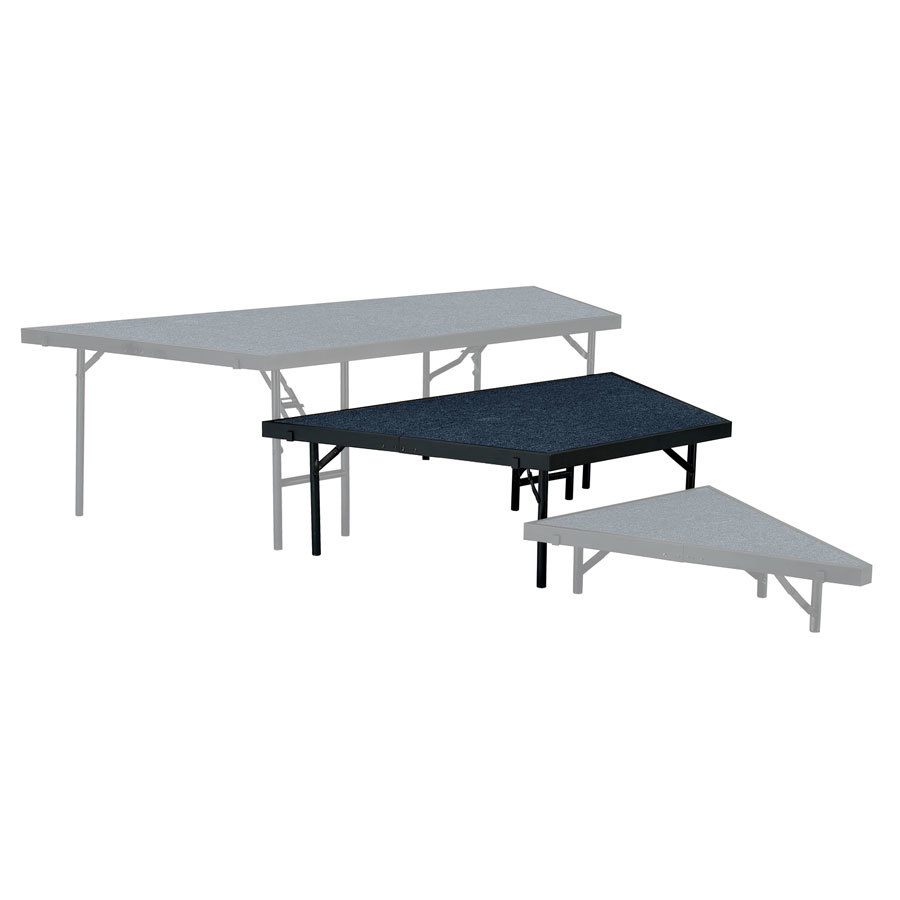 "National Public Seating SP3616C Portable Stage Pie Unit with Blue Carpet - 36"" x 16"""