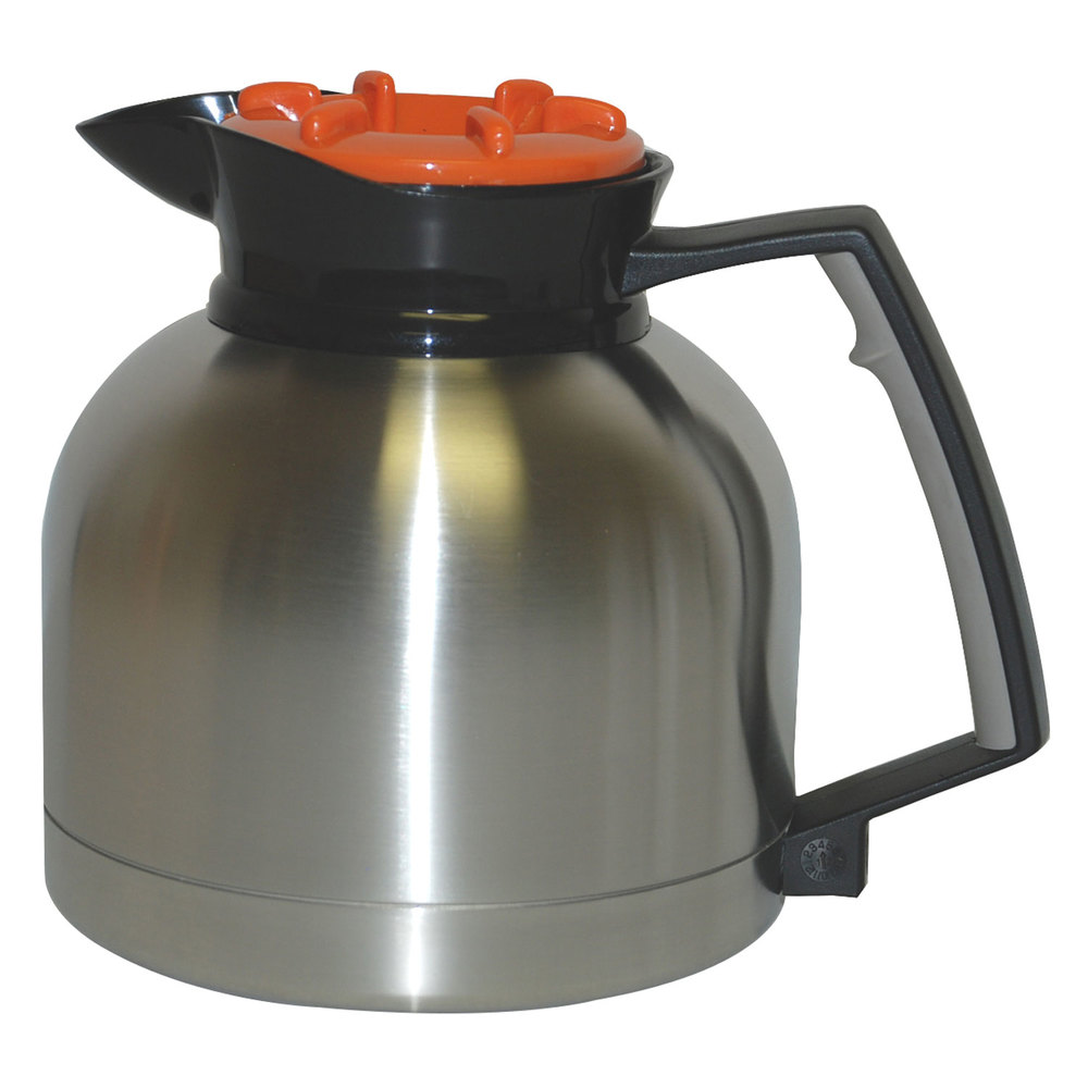 Grindmaster SS-1.9 LD 64 oz. Stainless Steel Thermal Carafe with Orange Decaf Lid