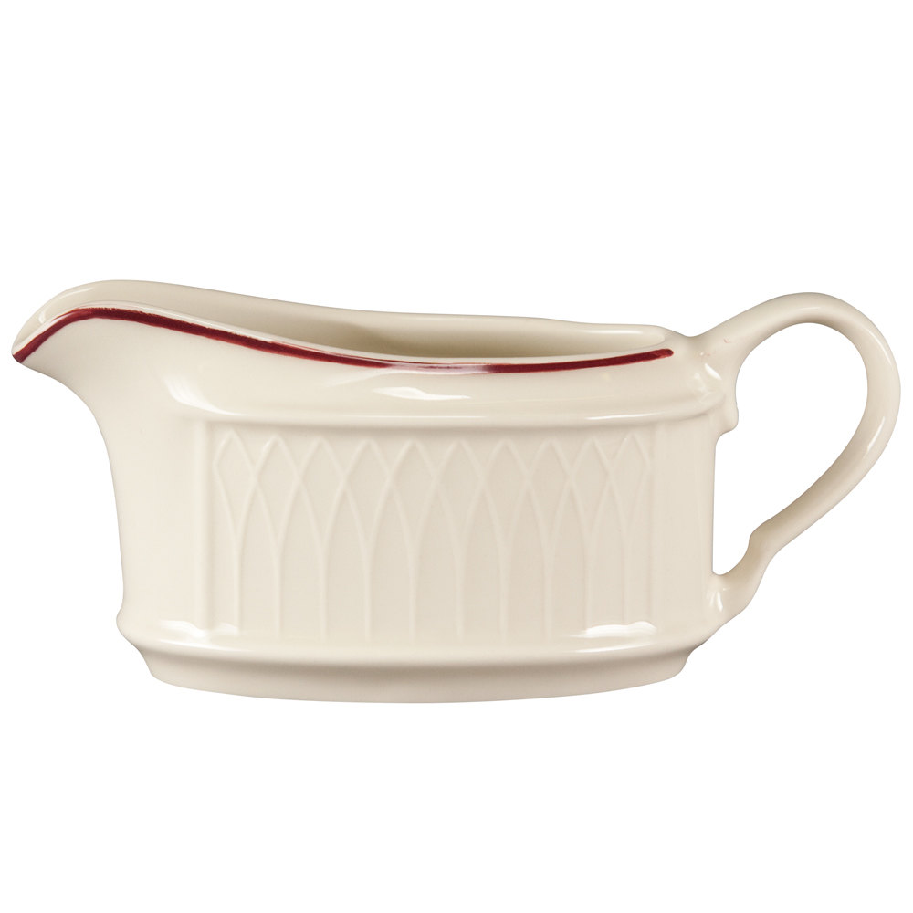 Homer Laughlin 1492-0317 Gothic Red Jade 6.5 oz. Off White Sauce Boat - 36/Case