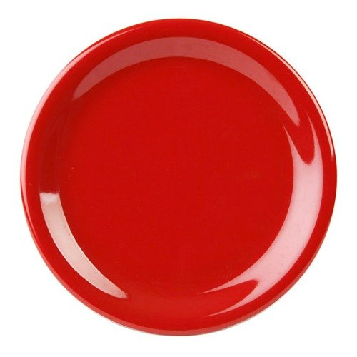"7 1/4"" Pure Red Narrow Rim Melamine Plate - 12/Pack"