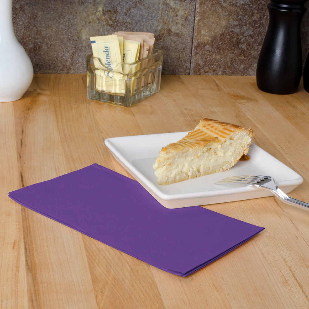 "Hoffmaster 180539 Purple 15"" x 17"" Paper Dinner Napkins 2-Ply - 1000 / Case"