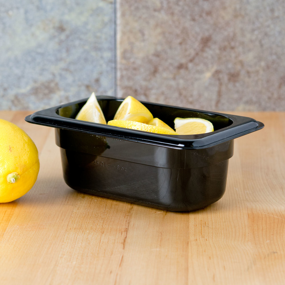"Carlisle 3068603 StorPlus 1/9 Size Black Food Pan - 2 1/2"" Deep"