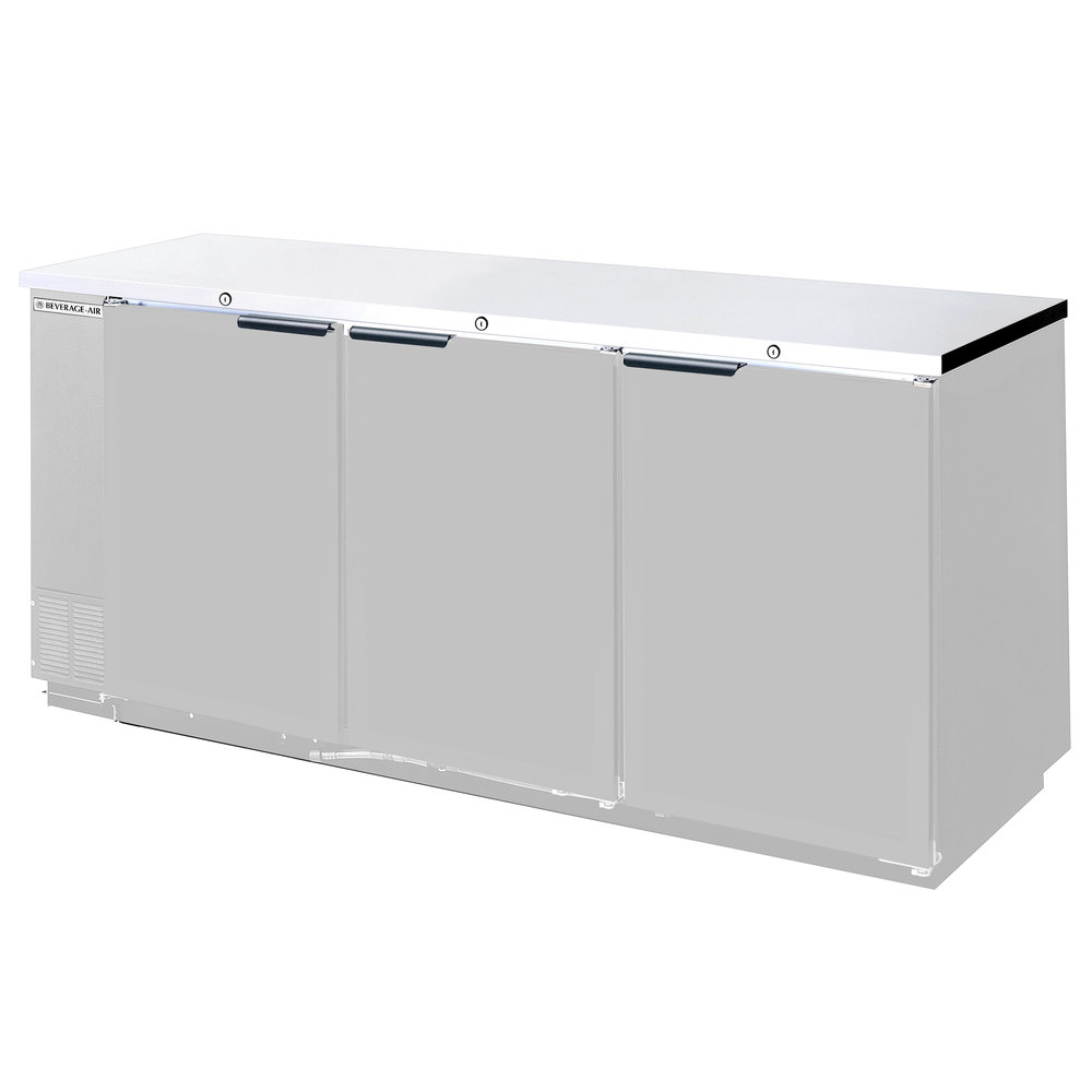 "Beverage Air BB72R-1-S 72"" Stainless Steel Remote Cooled Back Bar Refrigerator with 3 Solid Doors - 115V"