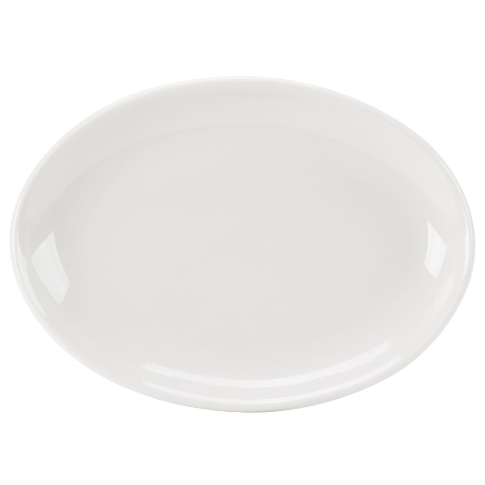 "Homer Laughlin 31300 Empire 11 1/2"" Ivory (American White) Coupe Oval China Platter - 12/Case"