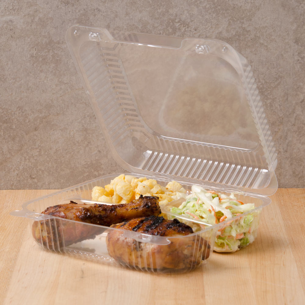 "Dart C51UT3 StayLock 8 1/4"" x 7 3/4"" x 3"" Clear Hinged Plastic Medium 3-Compartment Container - 250/Case"