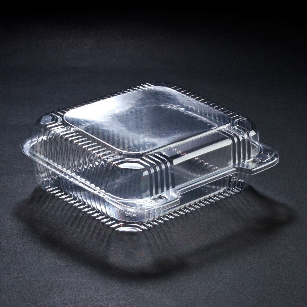 Dart C51UT3 8 5/16 inch x 713/16 inch x 3 inch Clear Hinged 3 Compartment StayLock Plastic Container 250/Case