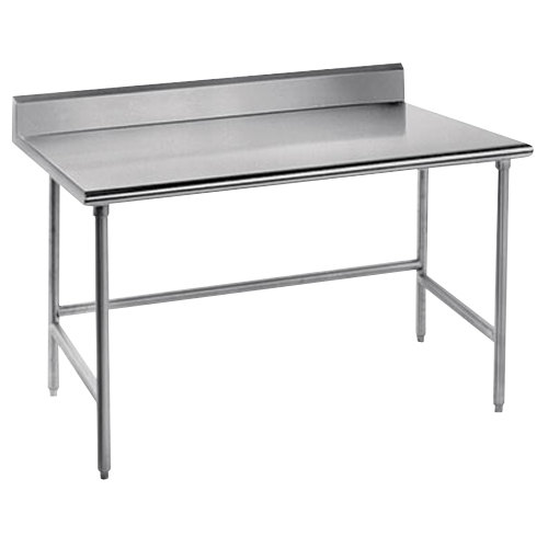 "Advance Tabco TSKG-240 24"" x 30"" 16 Gauge Open Base Stainless Steel Commercial Work Table with 5"" Backsplash"