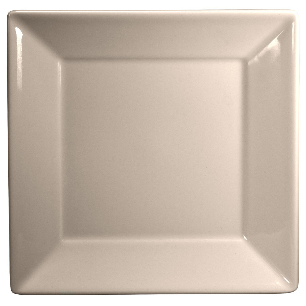 "Homer Laughlin 8300 Times Square 8 1/2"" Ivory (American White) Square China Plate - 12/Case"