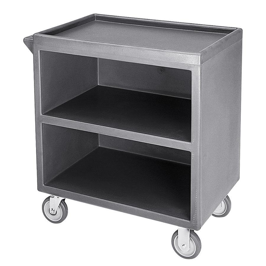"Cambro BC330191 Granite Gray Three Shelf Service Cart with Three Enclosed Sides - 33 1/8"" x 20"" x 34 5/8"""