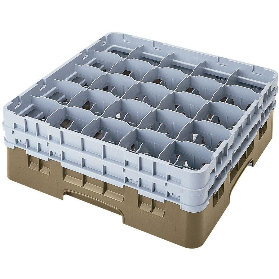 "Cambro 25S534184 Camrack 6 1/8"" High Beige 25 Compartment Glass Rack"