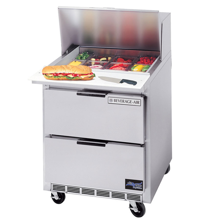 "Beverage Air SPED27C-A 27"" Refrigerated Salad / Sandwich Prep Table with 17"" Wide Cutting Board and 2 Drawers"