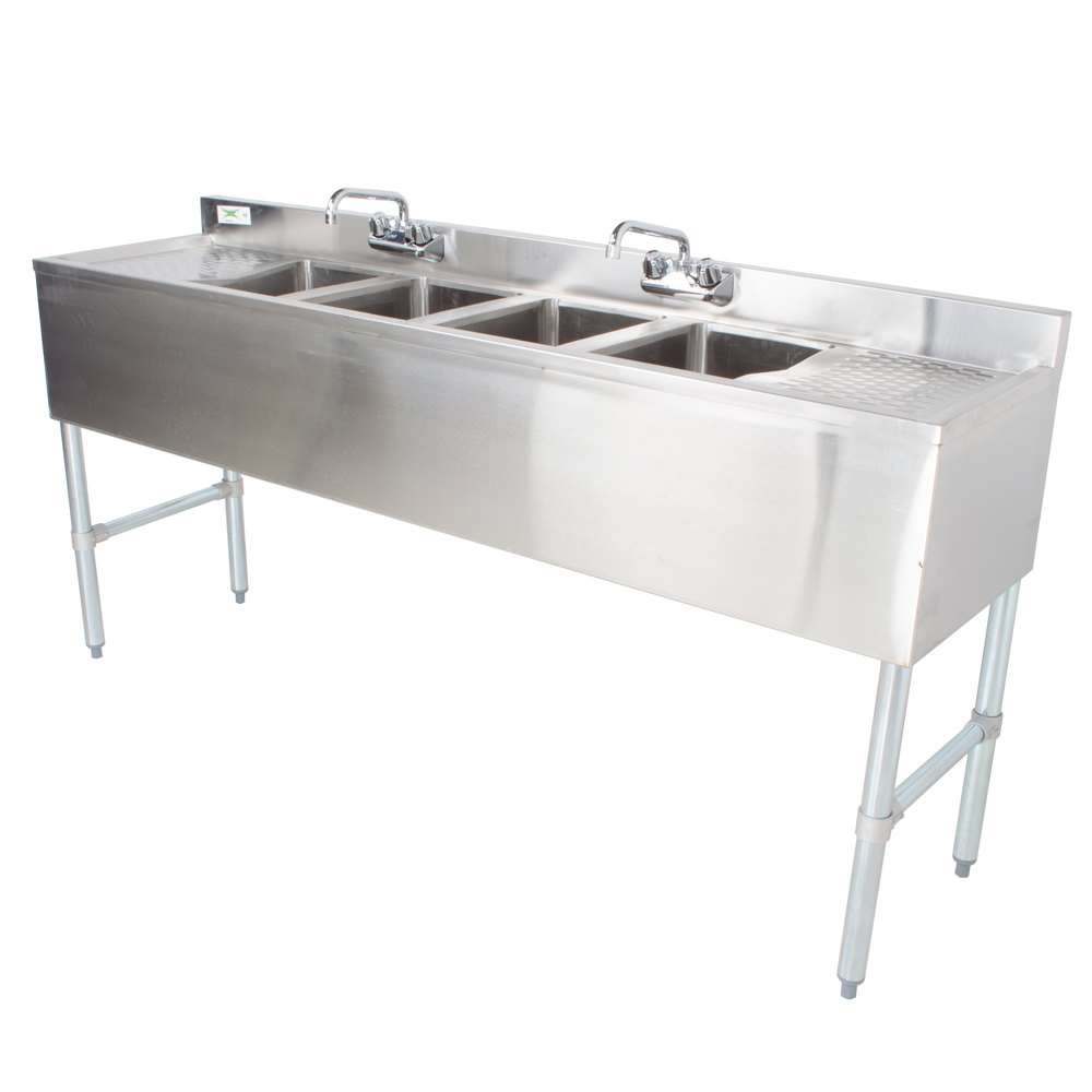 "Regency 4 Bowl Underbar Sink with Two Faucets and Two Drainboards - 72"" x 18 3/4"""