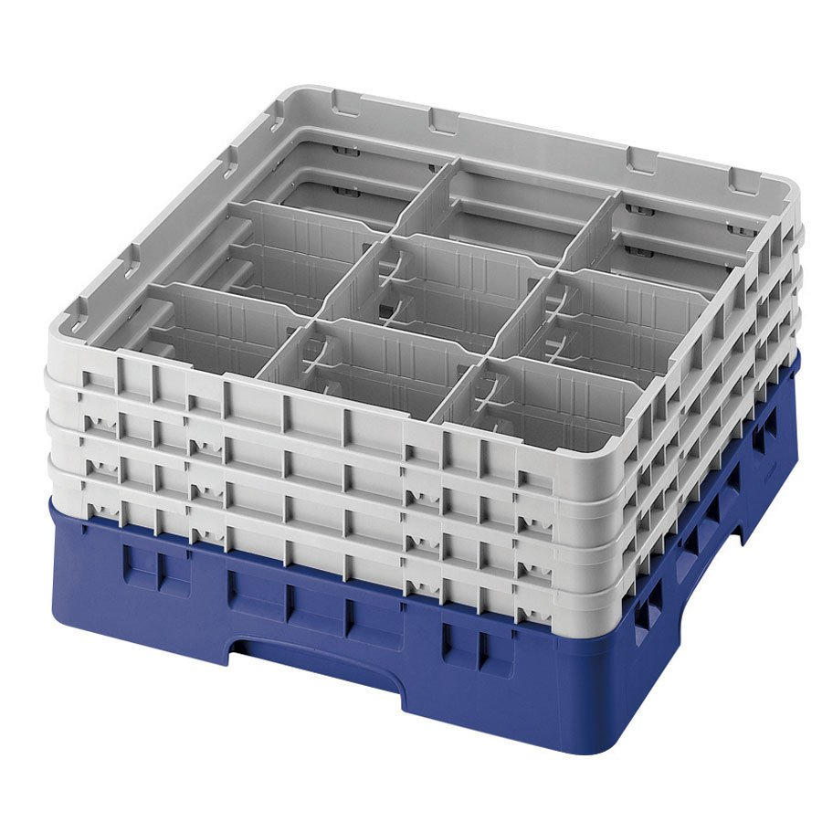 "Cambro 9S318168 Blue Camrack 9 Compartment 3 5/8"" Glass Rack"