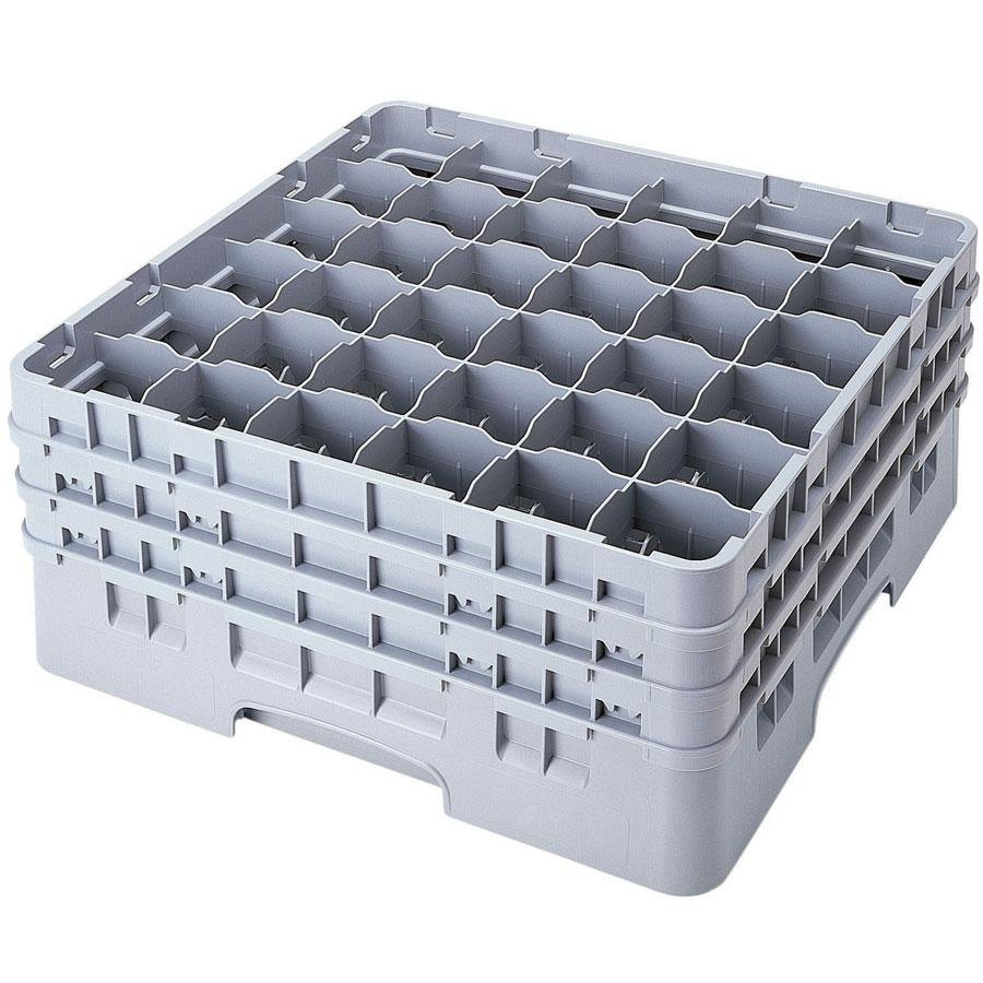 "Cambro 36S1214151 Soft Gray Camrack 36 Compartment 12 5/8"" Glass Rack"