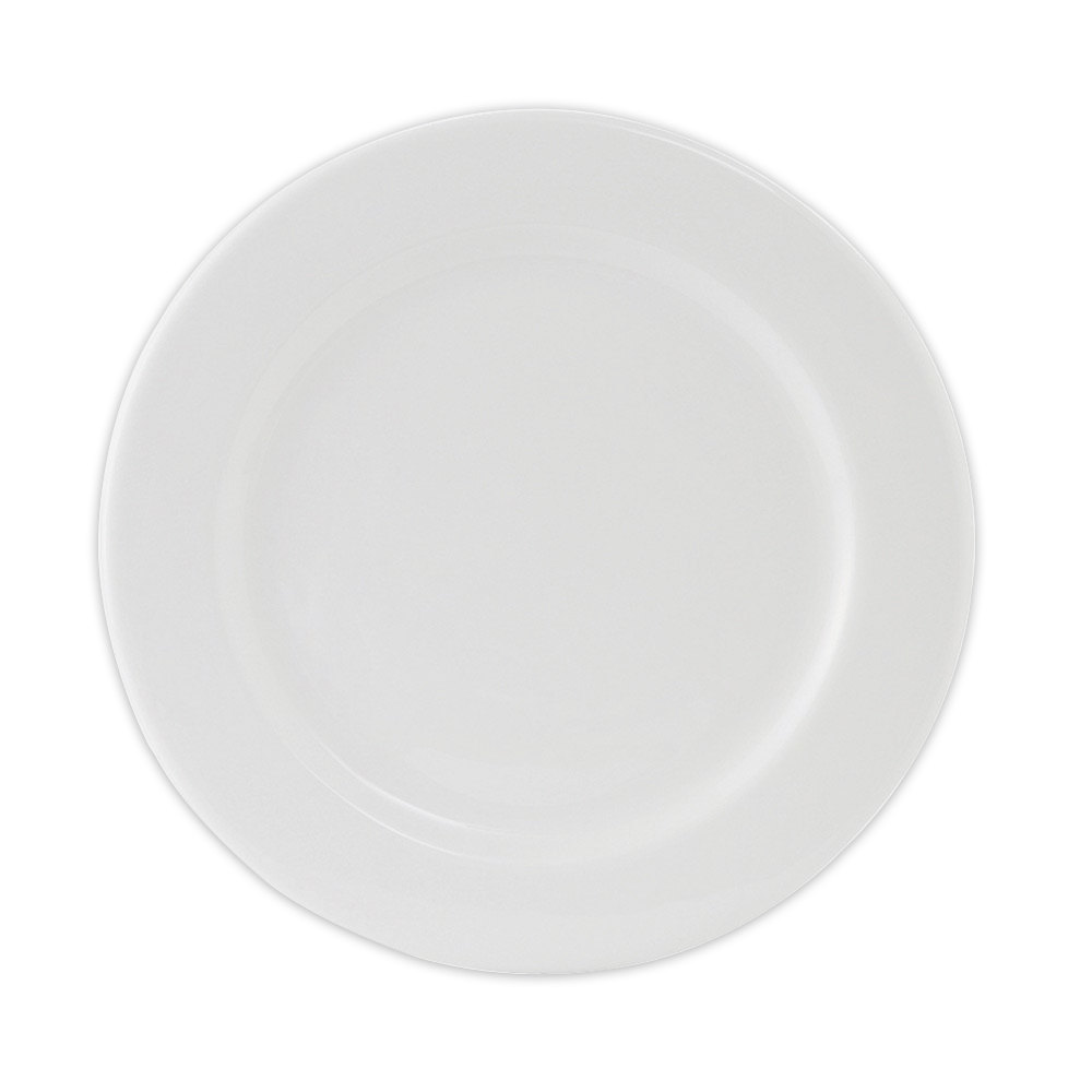 Tuxton ALA-094 Alaska 9 1/2 inch Wide Rim Rolled Edge Bright White China Plate 24/Case