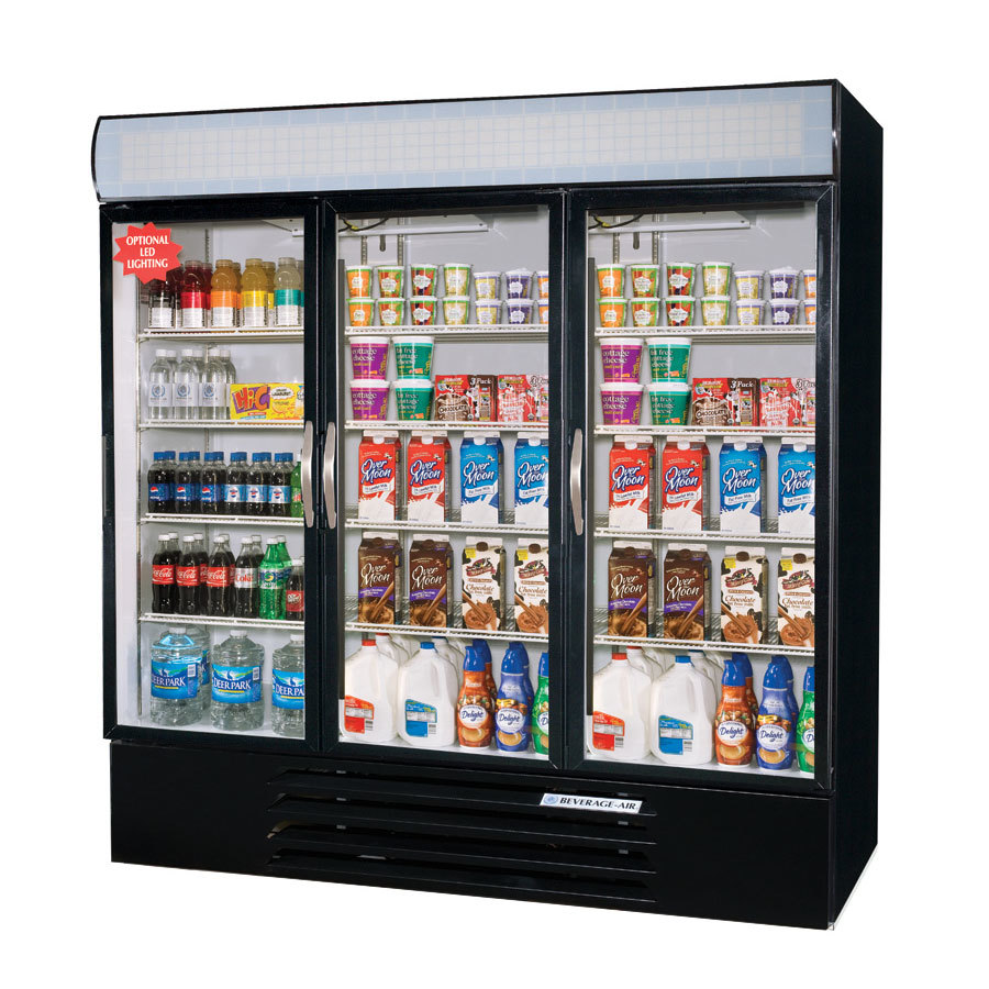 Beverage Air MMR72-1-B-LED Black Marketmax Refrigerated 3 Glass Door Merchandiser with LED Lighting - 72 Cu. Ft. at Sears.com