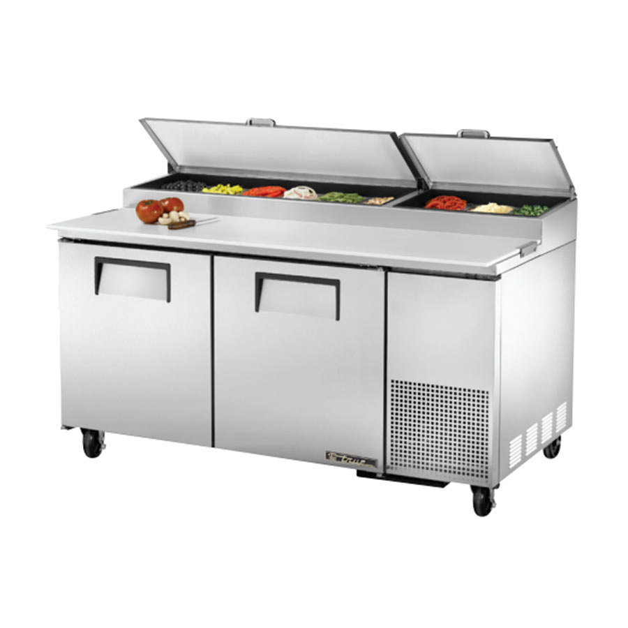 True TPP-67 67 inch 2 Door Refrigerated Pizza Prep Table