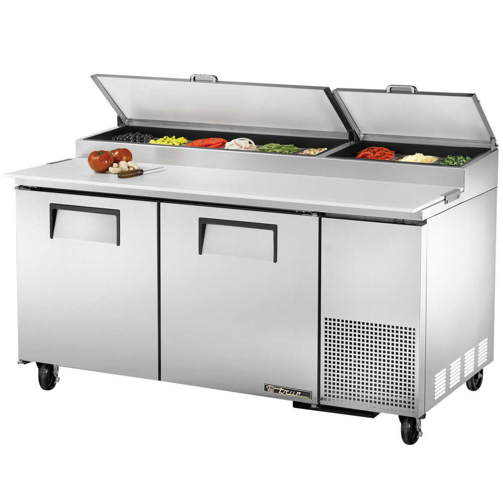 "True TPP-67 67"" Two Door Refrigerated Pizza Prep Table"