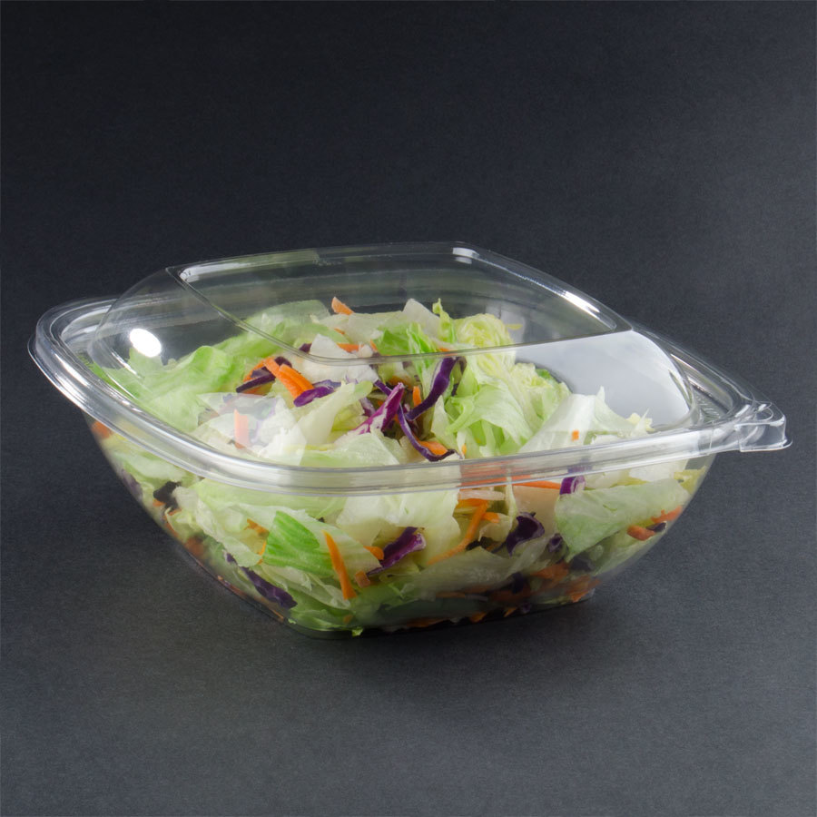Sabert C19064TE75 64 oz. Clear Square Tamper Evident Bowl with Lid - 75 / Case