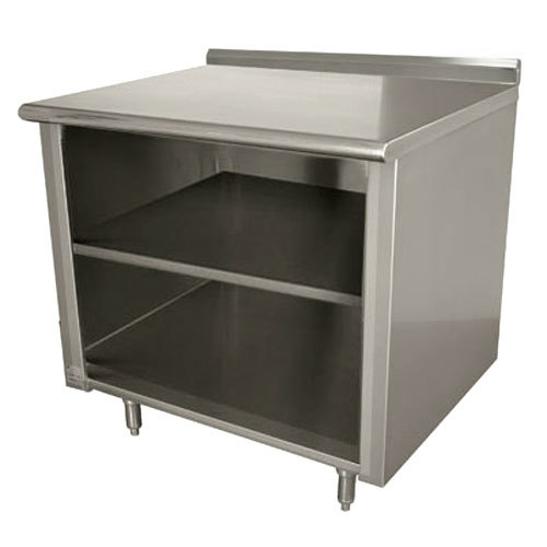 "Advance Tabco EF-SS-363M 36"" x 36"" 14 Gauge Open Front Cabinet Base Work Table with Fixed Mid Shelf and 1 1/2"" Backsplash"